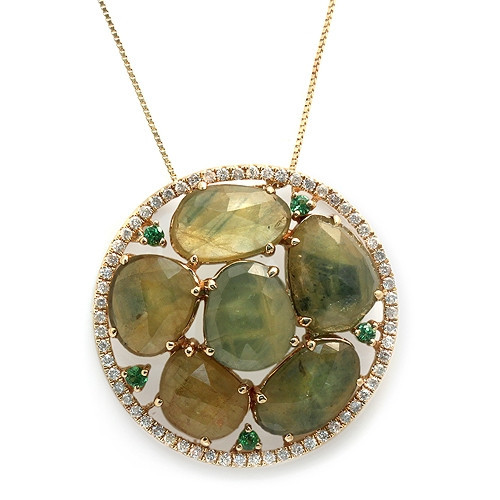 Green Sapphire Slice Necklace with Paved Diamonds & 14K Gold